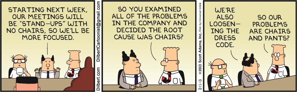 dilbert agile comic strip methodology standup meetings