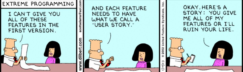 dilbert agile comic strip user story geeks