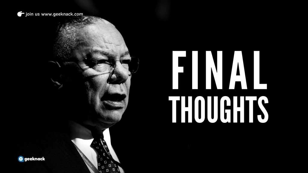 Colin Powell - Leadership Style & Principles Final Thoughts
